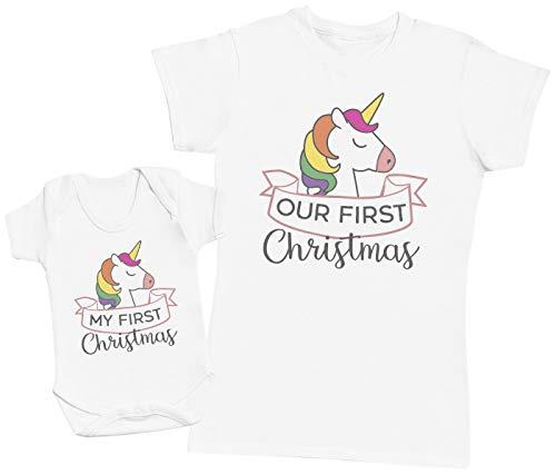 Zarlivia Clothing My First Christmas Unicorn Design - Ensemble Mère Bébé Cadeau - Femme T Shirt & bébé Bodys - Blanc - S & 12-18 Mois