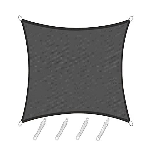 Sunnylaxx Toldo Vela de Sombra Cuadrado 3 x 3 Metros, Color Grafito, toldo Resistente e Impermeable,95% de protección UV, para Exteriores, jardín