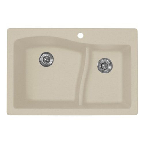 Swanstone QZ03322LS.076 Granite 1-Hole Dual Mount Single-Bowl Kitchen Sink, 33-in L X 22-in H X 10-in H, Granito