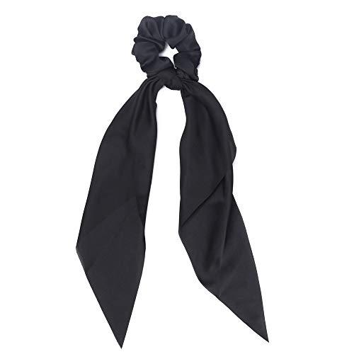liaini Haarbänder Solide Color Scrunchie Böhmische Haarband Bow Streamers Accessoires für Mädchen Krawatten mit Haaren Gummibänder für Haare Elastische(black)