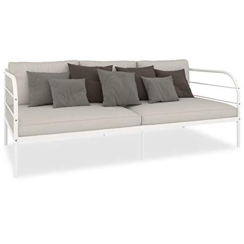 GOTOTOP - Sofá de cama de metal 207 x 96 x 72 cm – Se utiliza como cama o sofá para invitados – con reposabrazos redondo – blanco