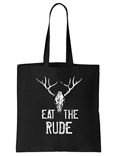 clothinx Hannibal Eat the Rude - Esse die Unhöflichen | Film und Serien Fan-Design | Menschen statt Tiere | Stoff-Tasche Schwarz