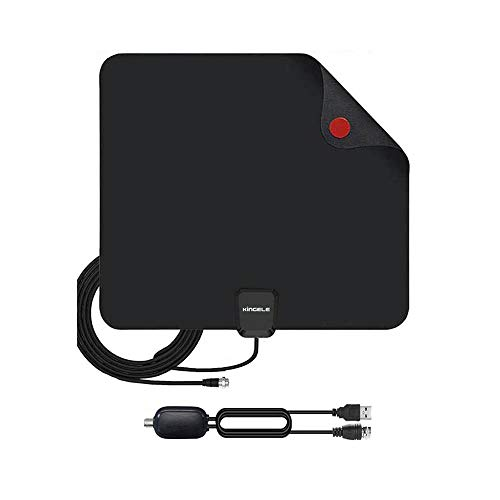 Antena de TV digital ampliada para interiores KINGELE de 120 millas con amplificador y cable coaxial de 10 pies, compatible con UHF VHF 4K Ready/ATSC 3.0 Freeview HDTV, color neg