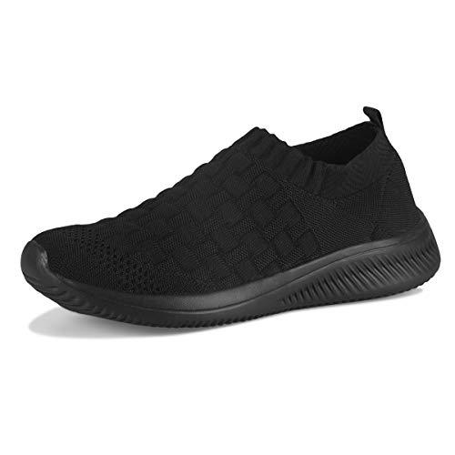 SANEARDE Damen Walkingschuhe Slip on Atmungsaktiv Mesh Freizeitschuhe Gym Bequem Leichte Sportshuhe (38, All Schwarz)