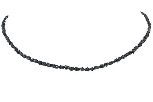 Damen-Kette 45cm, roh Diamant schwarz, mit Karabiner aus Silber 925