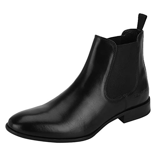 Red Tape Men's Black Leather Boots-10 UK (44 EU) (RTE156)