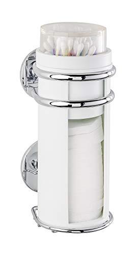 Wenko Express-Loc Wattepad- und Ohrstäbchenhalter Cali - Wattepadspender, Wattestäbchenhalter, Befestigen ohne bohren, Edelstahl rostfrei, 8 x 19 x 11 cm, glänzend