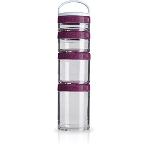BlenderBottle C02504 GoStak Twist n' Lock Storage Jars, 4-Piece Starter Pak, Plum