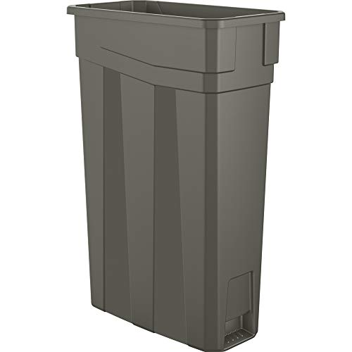 Amazon Basics 23 Gallon Commercial Slim Trash Can, No Handle, Grey, 2-Pack - TCN20302A