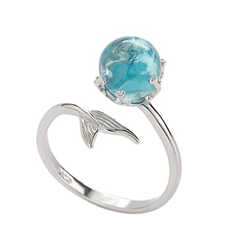 Silver Mermaid Ring Adjustable Open Ring & Blue Crystal Hypoallergenic Ring for Women Girl