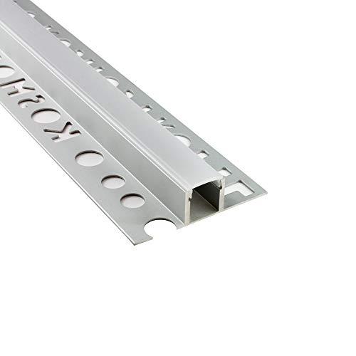 LED Aluprofil T77 Bordüre 12mm silber Fliesenprofil + Abdeckung Fliesen für LED-Streifen-Strip 2m milky