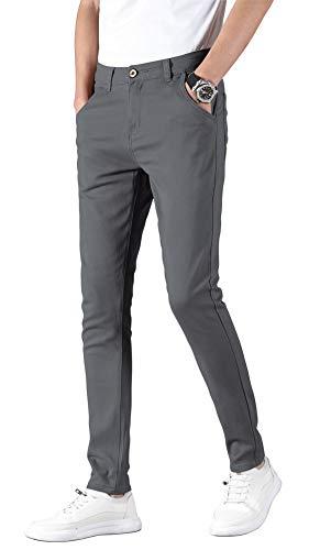 Plaid&Plain Men's Skinny Stretchy Grey Pants Colored Pants Slim Fit Slacks Tapered Trousers 819 Grey 31X30