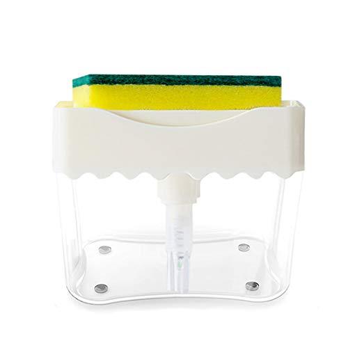 BUDDYGO Seifenspender Set mit Reinigungsschwamm für Küche, Spülbecken Organizer Seifenpumpenspender multifunktionaler 2-in-1 Schwammhalterung, Desinfektionsspender für Küche Spüle, Geschirr