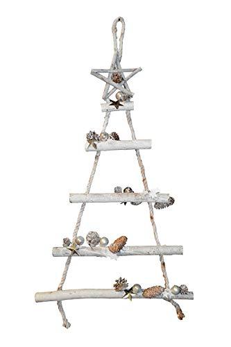 Hänger ~ Tanne mit Deko Silber ~ aus Holzstäben Weihnachten Advent Tannenbaum