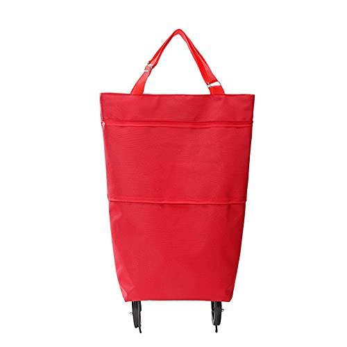 QKFON Carro de compras plegable portátil, gran capacidad, multifuncional, impermeable, con rueda, bolsas reutilizables para carrito de la compra