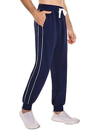 Sykooria Pantalones Deporte Hombre con Bolsillos Pantalones Deportivos Largos Hombre Pantalones Chandal Hombres Tallas Grandes Pantalones Running de algodón para Hombres - Azul M