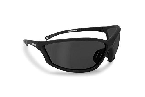 occhiali sportivi graduati Bertoni Occhiali Sportivi da Vista con Clip Ottica per Lenti Graduate per Moto Ciclismo Running Tiro - AF100C Italy - Nero Opca/Lente Fumo