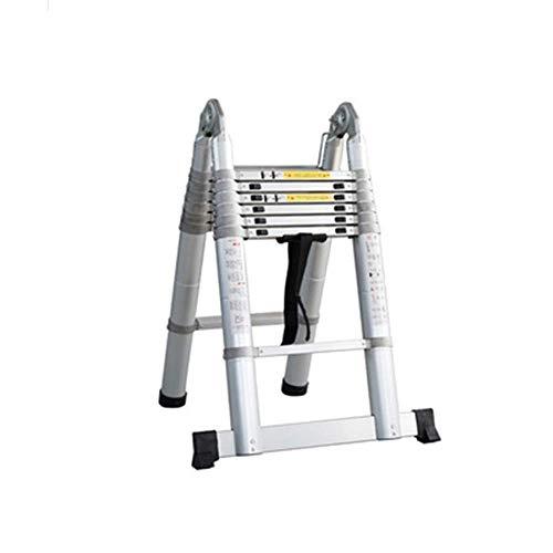 Escalera telescópica Plegable Paso Escaleras de aluminio Escaleras telescópicas, multiusos de la escalera plegable con barra de equilibrio portátil deformable for el hogar Ingeniería ( Size : 2.5m )