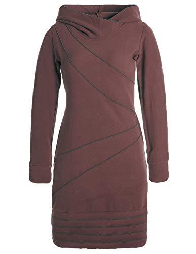 Vishes - Alternative Bekleidung - Langärmliges Patchwork Hoodie Eco Fleecekleid mit Daumenlöchern braun 46