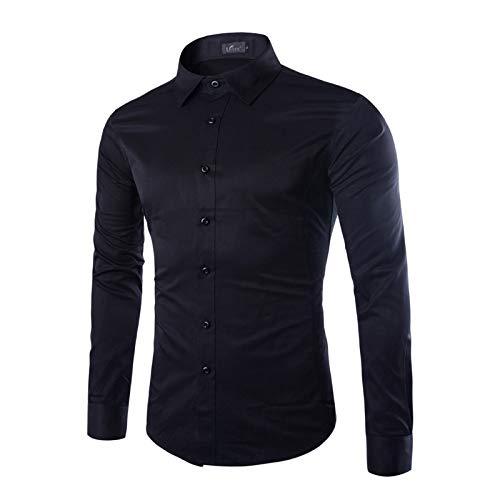 Chemise de Couleur Unie pour Hommes à la Mode Slim Fit à Manches Longues en Coton Respirant Toutes Les Saisons Chemise boutonnée décontractée d'affaires XX-Large