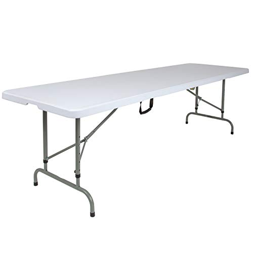 Flash Furniture 8-Foot Height Adjustable Bi-Fold Granite White Plastic Banquet and Event Folding Table with Carrying Handle