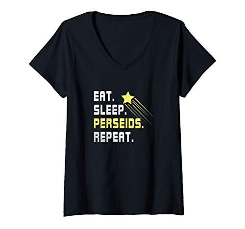 Damen Perseiden Sternschnuppen Schauer Shirt I Geschenk Astronomen T-Shirt mit V-Ausschnitt