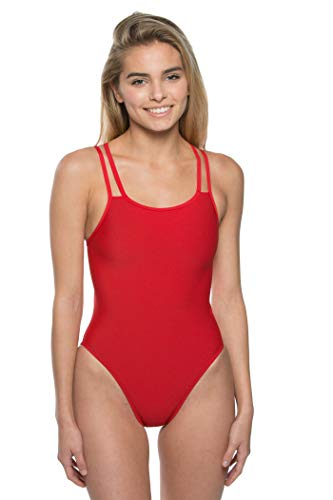 JOLYN Women's Fixed-Back Murray One-Piece Swimsuit (Red, 28)