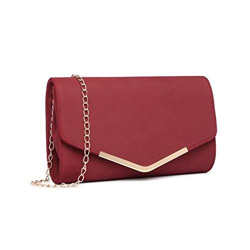Miss Lulu Elegante Kettentasche Damen Tasche Clutch Bag Handtasche Hochzeit Abendtasche Umhängetasche Mädchen (LH1756 Rot)