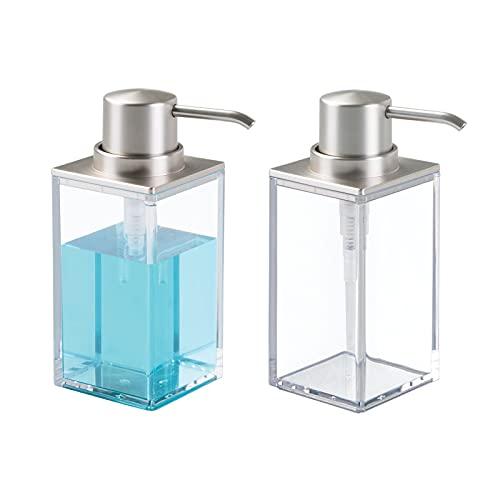 mDesign Set da 2 Dispenser sapone ricaricabile – Elegante dosatore sapone in plastica – Portasapone ideale per bagno e cucina – trasparente/argento