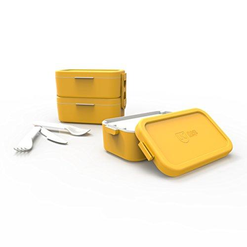 Bento Box Dupla Tampa Primacor Anodilar Amarelo Polipropileno