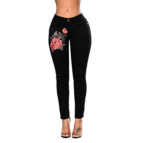 wyhweilong Damen Slim Fit Stretch bestickte Blumen Loch Jeans Frauen Floral Bedruckte hohe Taille Denim-Hosen (2XL, schwarz)