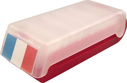 Helit H6901025 - Tarjetero (capacidad para 600 unidades, 23 x 10.2 x 7 cm), color rojo