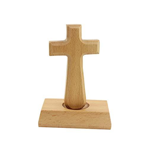 Lamf Christliches Kreuz aus Buchenholz, stehend, mit Magnetfuß, Holz-Kreuz in Tasche, ideales christliches Gebetskreuz für Männer und Frauen Quadratisch
