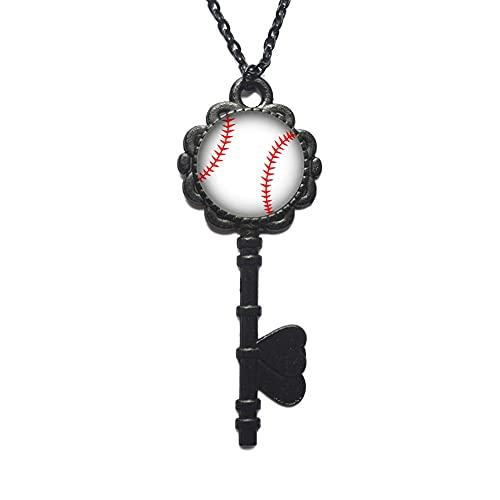Collar de la llave del béisbol, joyería del béisbol, joyería deportiva, afición, joyería de la mamá del béisbol, regalo del equipo de béisbol, amante del béisbol-JV306