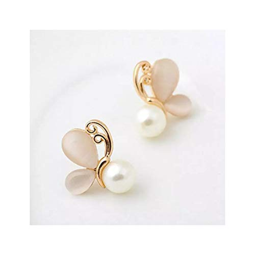 LORIEL 2 pendientes de tuerca de mariposa de ópalo y mariposa, pendientes redondos de perlas rosadas para mujer