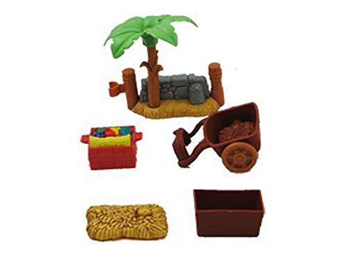 Piezas de repuesto para natividad y natividad de la historia de Navidad, (2 vallas, caja de comida, carro, bala de heno y caja de heno)