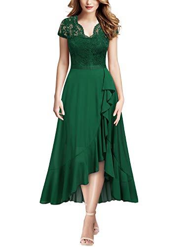 MIUSOL Pizzo Chiffon Alto Basso Sera Vestito Lungo da Donna Verde L