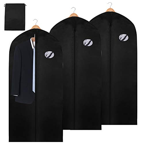 Hengda 3 Stück Premium Kleidersack Anzug inkl. Schuhbeutel 128 x 60 cm Mit PE-Folie Dicker Vliesstoff Hochwertige Kleiderhülle für Anzug und Kleid Atmungsaktive Anzugtasche für Reisen