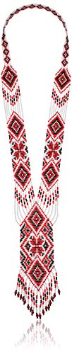 Premium Handcrafted Long Beaded Red Boho Necklace