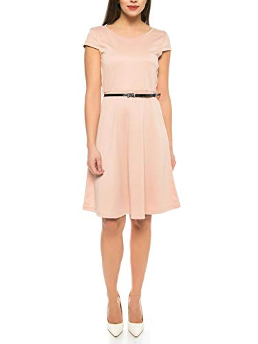 VERO MODA Damen Kleid mit kurz Arm und Gürtel in rosa - Sommer Cocktail-Kleid, Farbe:Pink, Größe:L