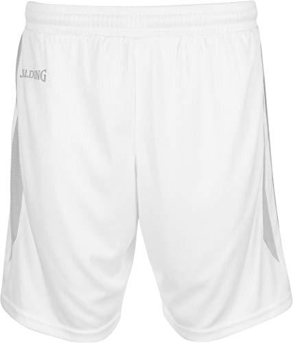 Spalding Herren 4her III Shorts, weiß/Silber grau, S