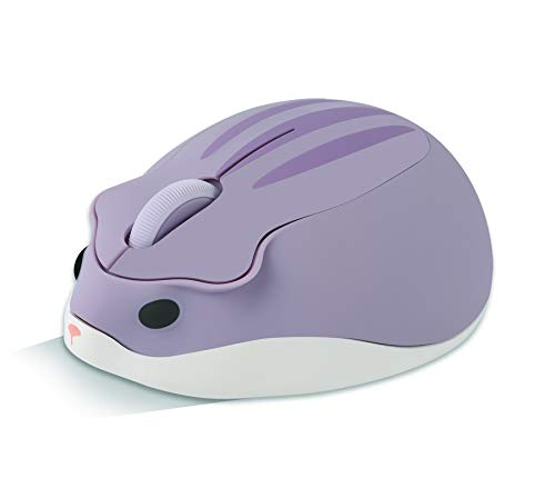 Ratón inalámbrico con forma de hámster óptico, 1200 DPI con cancelación de ruido, ultra portátil, 2,4 GHz con receptor USB unifying para PC, Mac o portátil, para niños, color morado