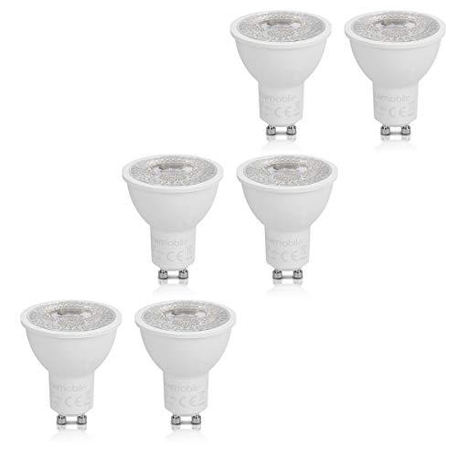 kwmobile Set de 6 bombillas LED GU10 3000K - Focos con iluminación en blanco cálido - Bombillas direccionales de 7W - Reemplazo de bombilla de 60W