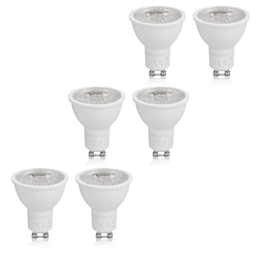 kwmobile 6x LED GU 10 Spots - 525 Lumen 7W 3000K warmweiß 38° Abstrahlwinkel - ersetzt 60W Halogen Lampe - nicht dimmbar - GU10 Spot Set in Weiß