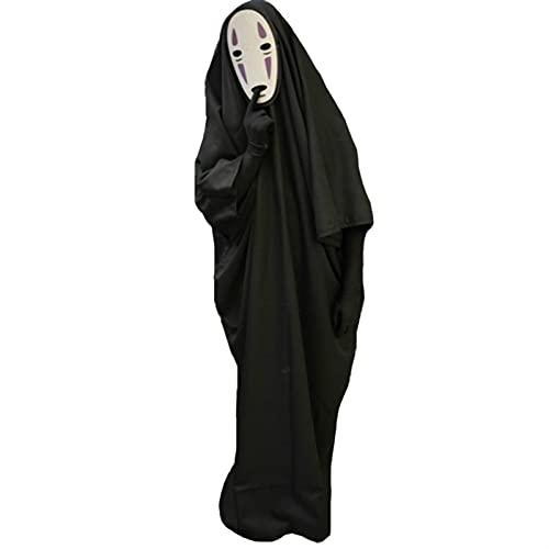 WENMENG2021 disfraz de esqueleto adulto Halloween Anime Hombre sin rostro 3pcs Ropa + Guantes + Máscara Cosplay Disfraces Partido Etapa Traje de rendimiento S-XXL máscara de Batman (Size : A-XL)