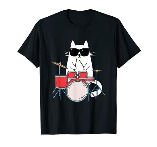 Gato Gracioso con Gafas de Sol de Músico Batería Percusión Camiseta