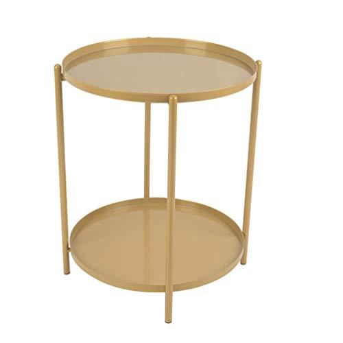 Runder Beistelltisch aus Metall,Couchtisch mit Zweischichtiges Tablett,abnehmbares Tablett,Sofa Side Snack Tisch Nachttisch, Outdoor & Indoor Drink Snack Couchtisch(Golden)