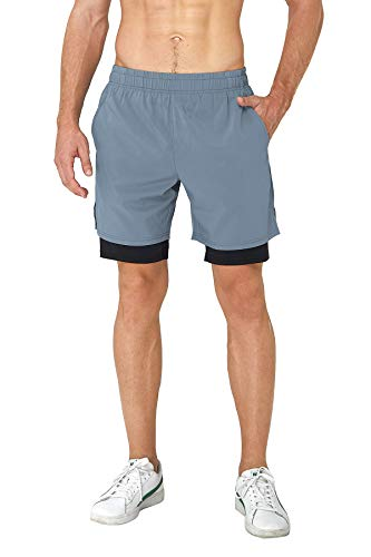 Loveternal Blue Haze Running for Men Run Comfy Casual Youth Boy Workout Exercise Shorts Training Clothes Solid Color Gym Fitness Shorts with Back Zipper Phone Pockets XL