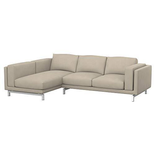 Soferia Funda de Repuesto para IKEA NOCKEBY sofá de 2 plazas con chaiselongue, Izquierda, Tela Majestic Velvet Beige, Beige