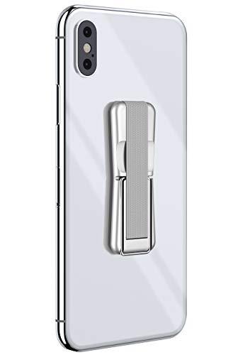 ONEFLOW® ClipGrip - Handy Fingerhalterung mit Ständer für alle Vernee Handys | Handyständer Ring Finger Halter Handyring Selbstklebend, Silber/Grau